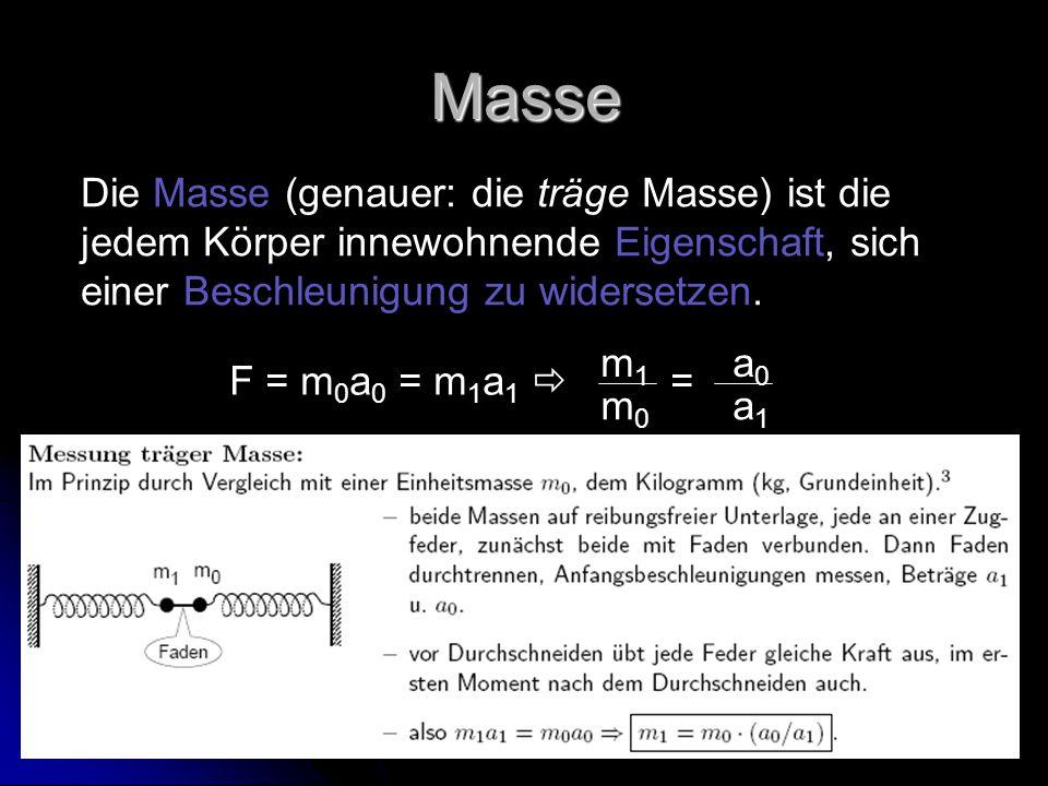Masse Die Masse (genauer: die träge Masse) ist die jedem Körper innewohnende Eigenschaft, sich einer Beschleunigung zu widersetzen. F = m 0 a 0 = m 1