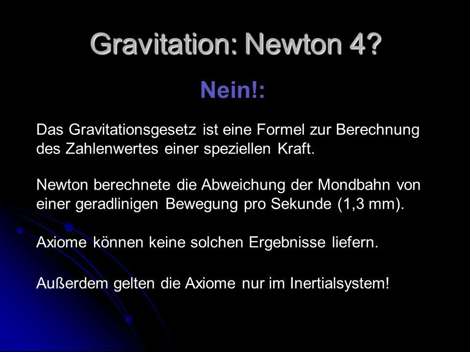 Gravitation: Newton 4? Nein!: Das Gravitationsgesetz ist eine Formel zur Berechnung des Zahlenwertes einer speziellen Kraft. Newton berechnete die Abw