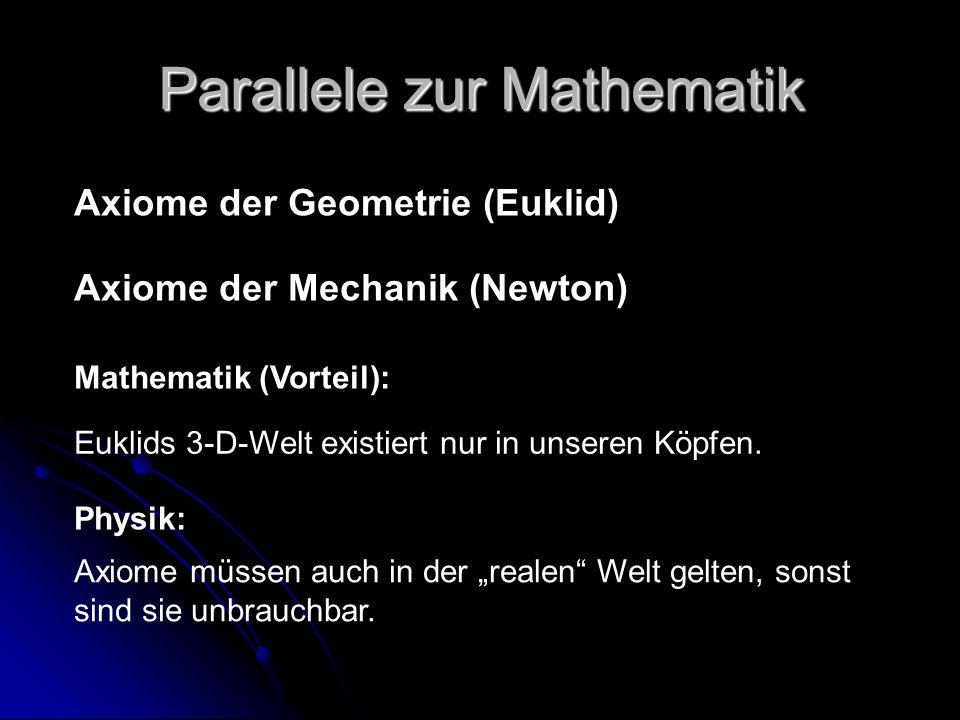 Parallele zur Mathematik Axiome der Geometrie (Euklid) Axiome der Mechanik (Newton) Mathematik (Vorteil): Euklids 3-D-Welt existiert nur in unseren Kö