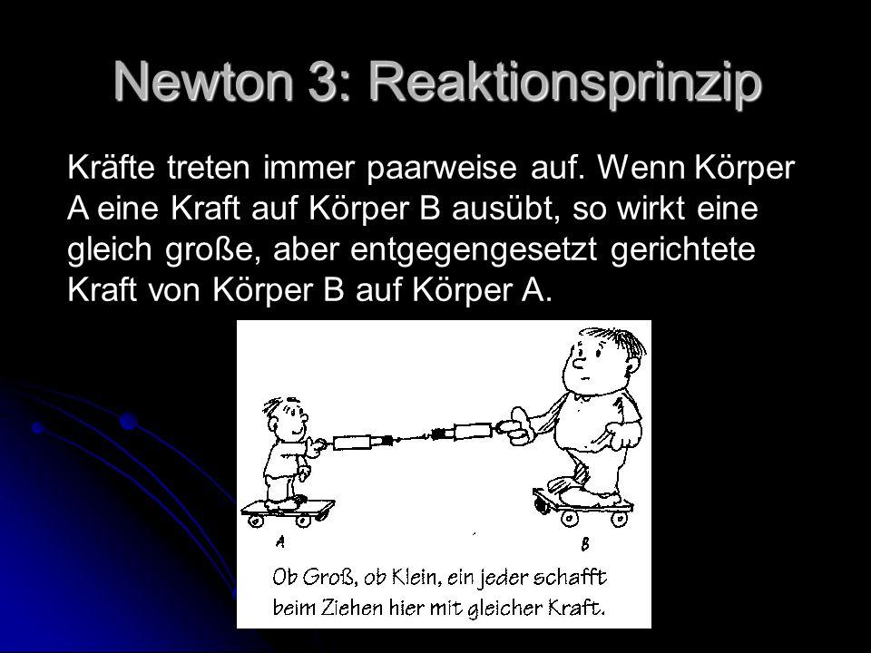 Newton 3: Reaktionsprinzip Kräfte treten immer paarweise auf. Wenn Körper A eine Kraft auf Körper B ausübt, so wirkt eine gleich große, aber entgegeng