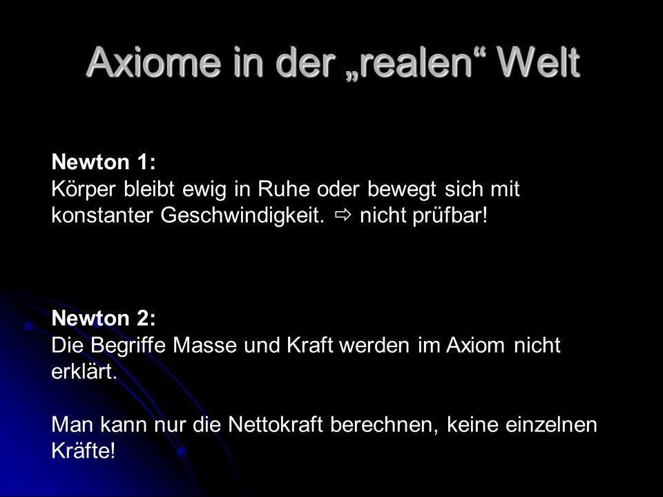 """Axiome in der """"realen"""" Welt Newton 1: Körper bleibt ewig in Ruhe oder bewegt sich mit konstanter Geschwindigkeit.  nicht prüfbar! Newton 2: Die Begri"""