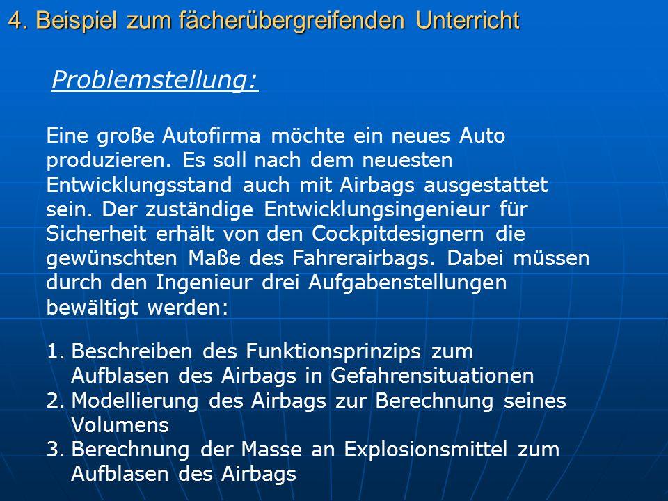 4. Beispiel zum fächerübergreifenden Unterricht Eine große Autofirma möchte ein neues Auto produzieren. Es soll nach dem neuesten Entwicklungsstand au