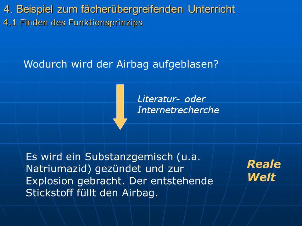 4. Beispiel zum fächerübergreifenden Unterricht 4.1 Finden des Funktionsprinzips Wodurch wird der Airbag aufgeblasen? Literatur- oder Internetrecherch