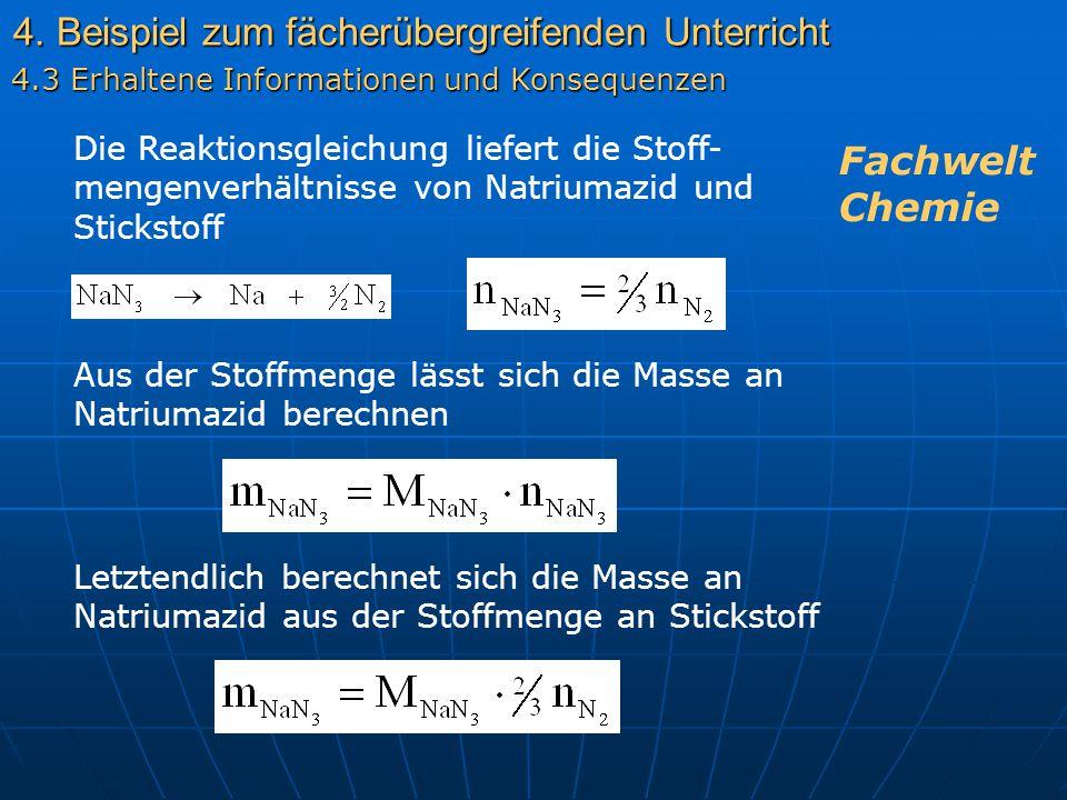 4. Beispiel zum fächerübergreifenden Unterricht 4.3 Erhaltene Informationen und Konsequenzen Die Reaktionsgleichung liefert die Stoff- mengenverhältni