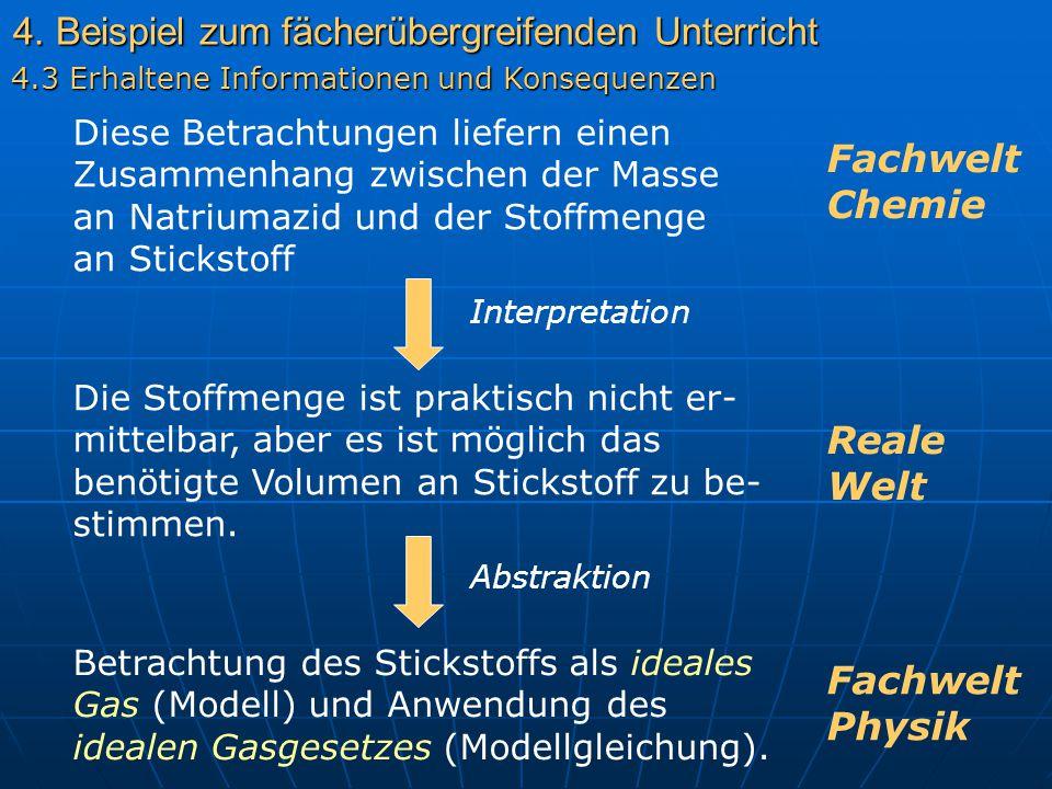 4. Beispiel zum fächerübergreifenden Unterricht 4.3 Erhaltene Informationen und Konsequenzen Fachwelt Chemie Diese Betrachtungen liefern einen Zusamme