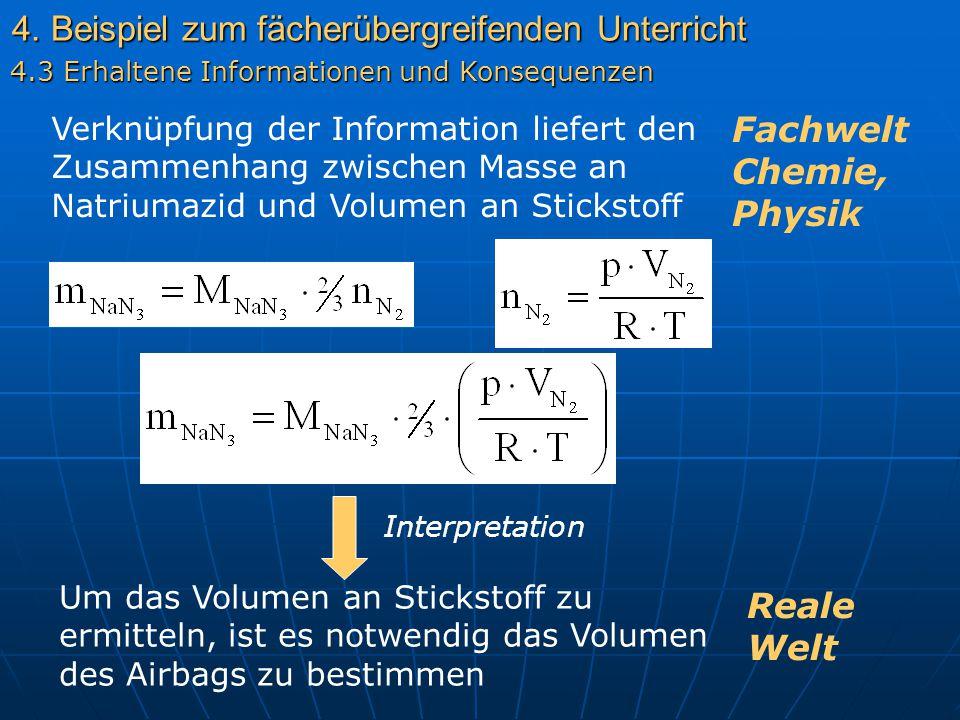 4. Beispiel zum fächerübergreifenden Unterricht 4.3 Erhaltene Informationen und Konsequenzen Verknüpfung der Information liefert den Zusammenhang zwis