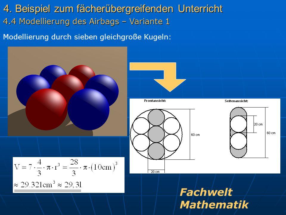 4. Beispiel zum fächerübergreifenden Unterricht Modellierung durch sieben gleichgroße Kugeln: 4.4 Modellierung des Airbags – Variante 1 Fachwelt Mathe