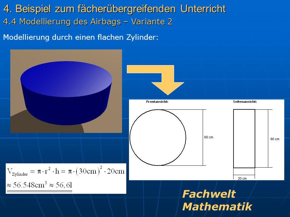 4. Beispiel zum fächerübergreifenden Unterricht Modellierung durch einen flachen Zylinder: 4.4 Modellierung des Airbags – Variante 2 Fachwelt Mathemat