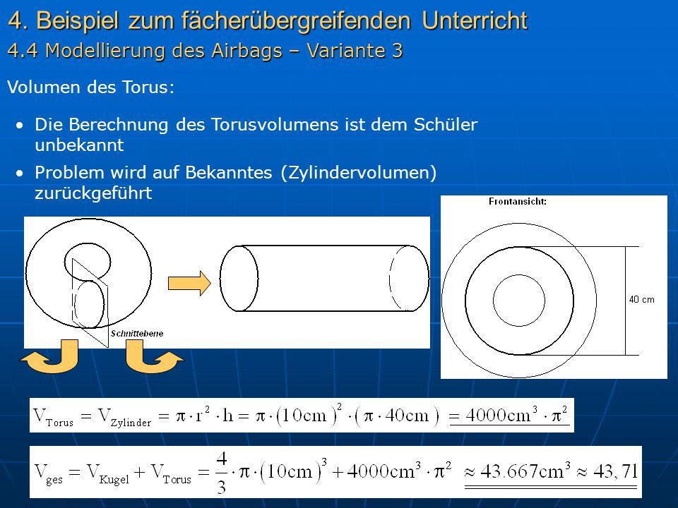 4. Beispiel zum fächerübergreifenden Unterricht Volumen des Torus: Die Berechnung des Torusvolumens ist dem Schüler unbekannt 4.4 Modellierung des Air