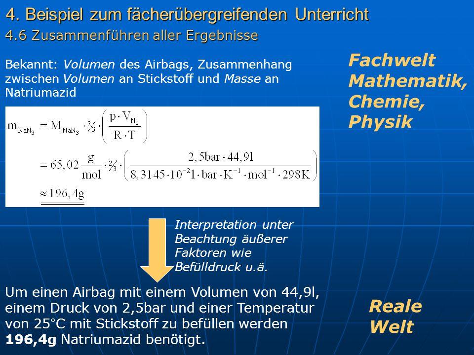 4. Beispiel zum fächerübergreifenden Unterricht Bekannt: Volumen des Airbags, Zusammenhang zwischen Volumen an Stickstoff und Masse an Natriumazid Int