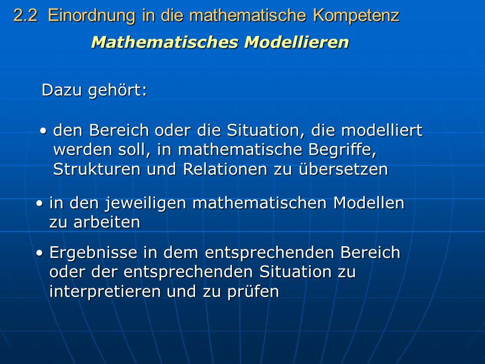 2.2 Einordnung in die mathematische Kompetenz Dazu gehört: den Bereich oder die Situation, die modelliert werden soll, in mathematische Begriffe, Stru