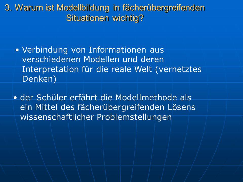 3. Warum ist Modellbildung in fächerübergreifenden Situationen wichtig? Verbindung von Informationen aus verschiedenen Modellen und deren Interpretati