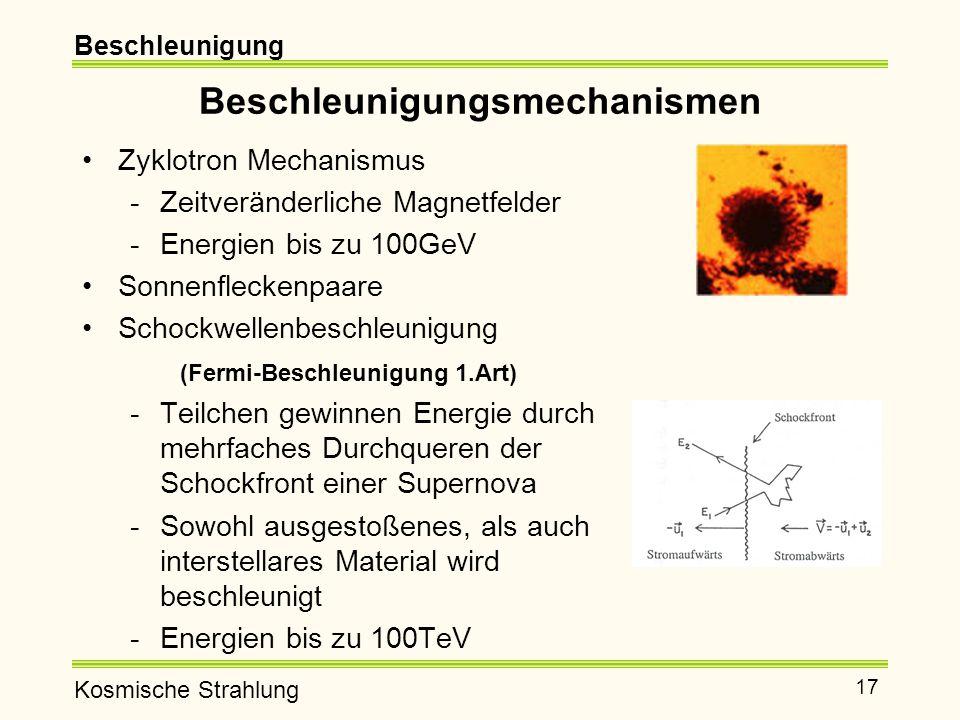 Kosmische Strahlung 17 Beschleunigungsmechanismen Zyklotron Mechanismus -Zeitveränderliche Magnetfelder -Energien bis zu 100GeV Sonnenfleckenpaare Schockwellenbeschleunigung (Fermi-Beschleunigung 1.Art) -Teilchen gewinnen Energie durch mehrfaches Durchqueren der Schockfront einer Supernova -Sowohl ausgestoßenes, als auch interstellares Material wird beschleunigt -Energien bis zu 100TeV Beschleunigung
