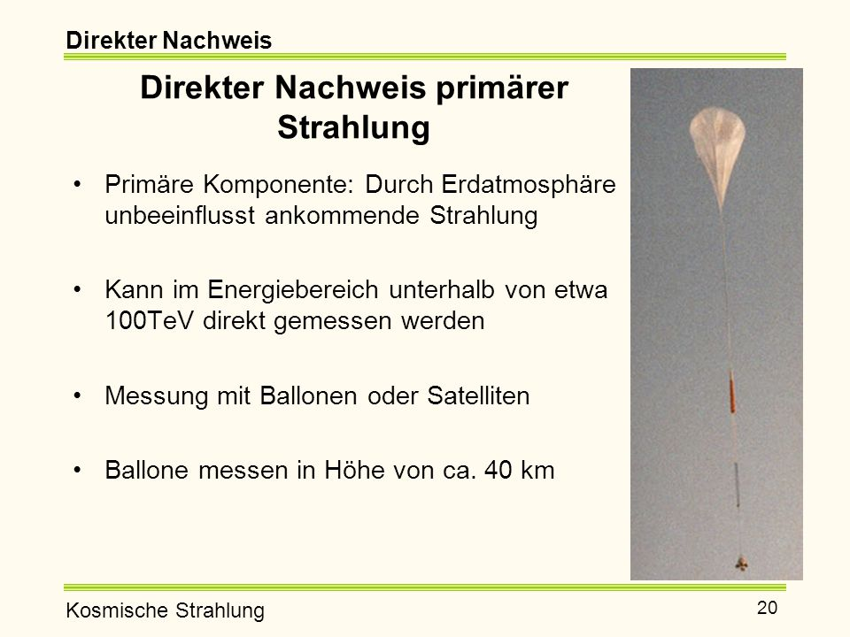 Kosmische Strahlung 20 Direkter Nachweis primärer Strahlung Primäre Komponente: Durch Erdatmosphäre unbeeinflusst ankommende Strahlung Kann im Energiebereich unterhalb von etwa 100TeV direkt gemessen werden Messung mit Ballonen oder Satelliten Ballone messen in Höhe von ca.