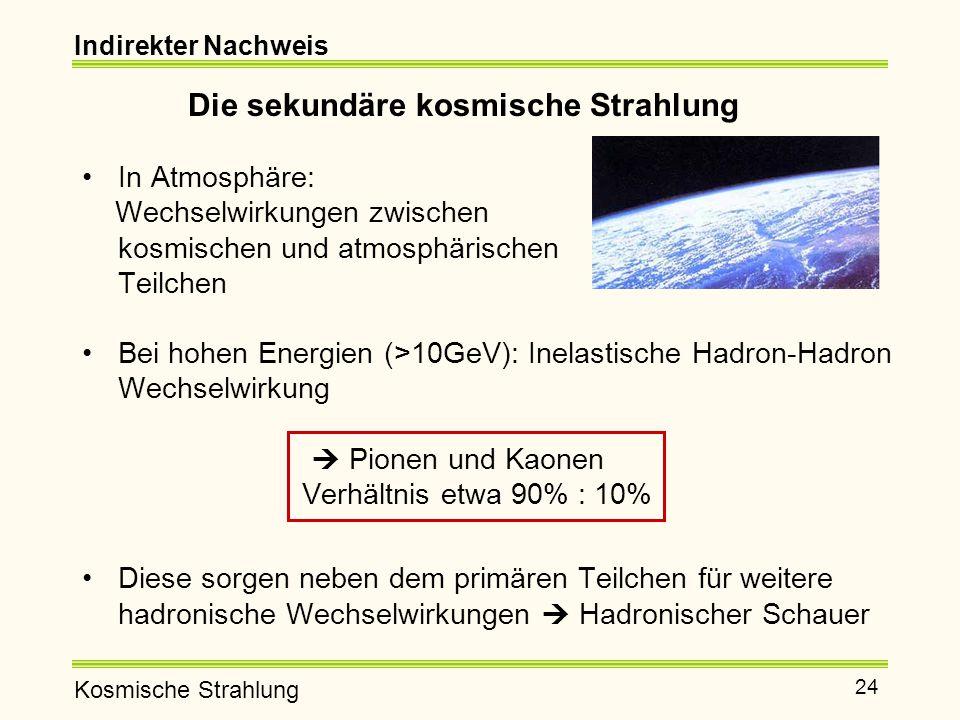 Kosmische Strahlung 24 Indirekter Nachweis Die sekundäre kosmische Strahlung In Atmosphäre: Wechselwirkungen zwischen kosmischen und atmosphärischen Teilchen Bei hohen Energien (>10GeV): Inelastische Hadron-Hadron Wechselwirkung  Pionen und Kaonen Verhältnis etwa 90% : 10% Diese sorgen neben dem primären Teilchen für weitere hadronische Wechselwirkungen  Hadronischer Schauer