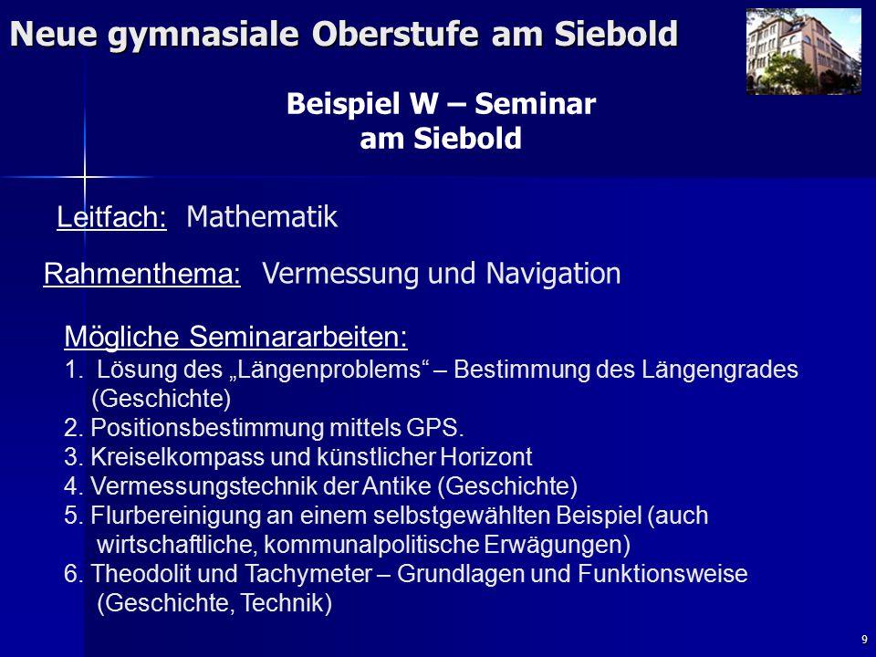 9 Neue gymnasiale Oberstufe am Siebold Beispiel W – Seminar am Siebold Rahmenthema: Vermessung und Navigation Leitfach: Mathematik Mögliche Seminararbeiten: 1.