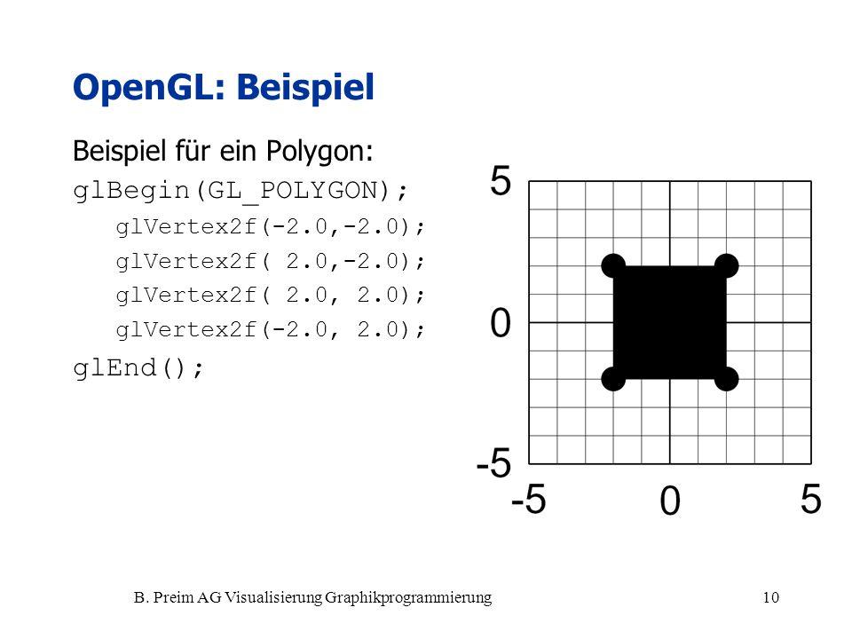 B. Preim AG Visualisierung Graphikprogrammierung10 Beispiel für ein Polygon: glBegin(GL_POLYGON); glVertex2f(-2.0,-2.0); glVertex2f( 2.0,-2.0); glVert