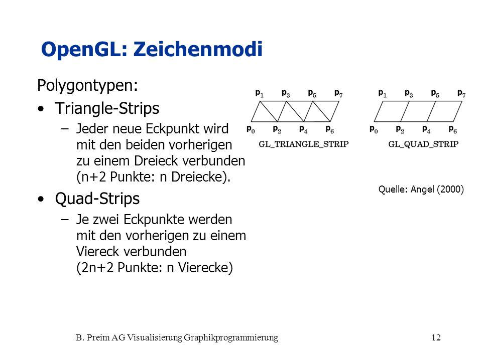 B. Preim AG Visualisierung Graphikprogrammierung12 Polygontypen: Triangle-Strips –Jeder neue Eckpunkt wird mit den beiden vorherigen zu einem Dreieck