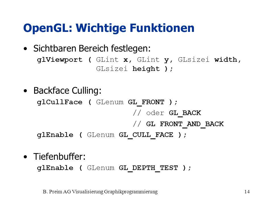 B. Preim AG Visualisierung Graphikprogrammierung14 Sichtbaren Bereich festlegen: glViewport ( GLint x, GLint y, GLsizei width, GLsizei height ); Backf