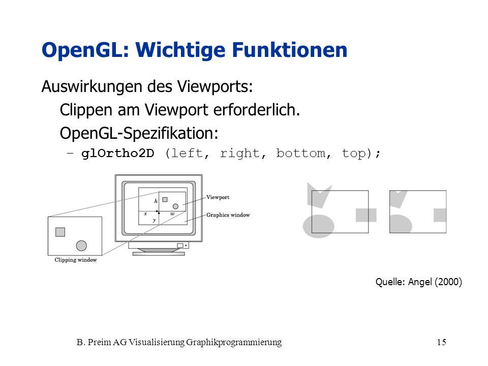 B. Preim AG Visualisierung Graphikprogrammierung15 Auswirkungen des Viewports: Clippen am Viewport erforderlich. OpenGL-Spezifikation: –glOrtho2D (lef