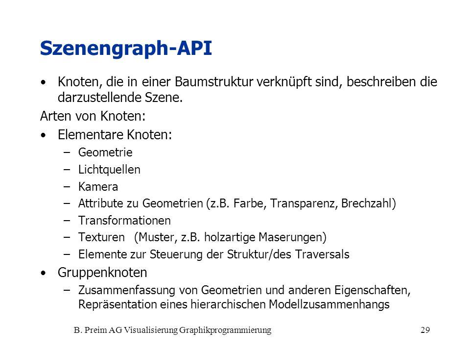 B. Preim AG Visualisierung Graphikprogrammierung29 Szenengraph-API Knoten, die in einer Baumstruktur verknüpft sind, beschreiben die darzustellende Sz