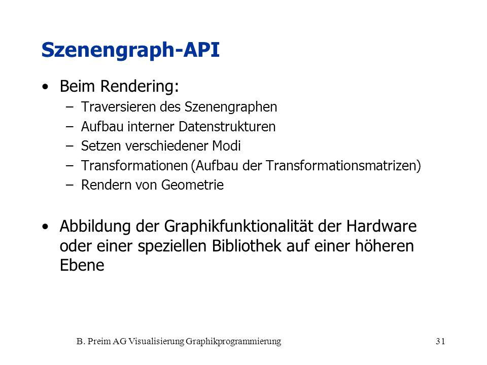B. Preim AG Visualisierung Graphikprogrammierung31 Beim Rendering: –Traversieren des Szenengraphen –Aufbau interner Datenstrukturen –Setzen verschiede