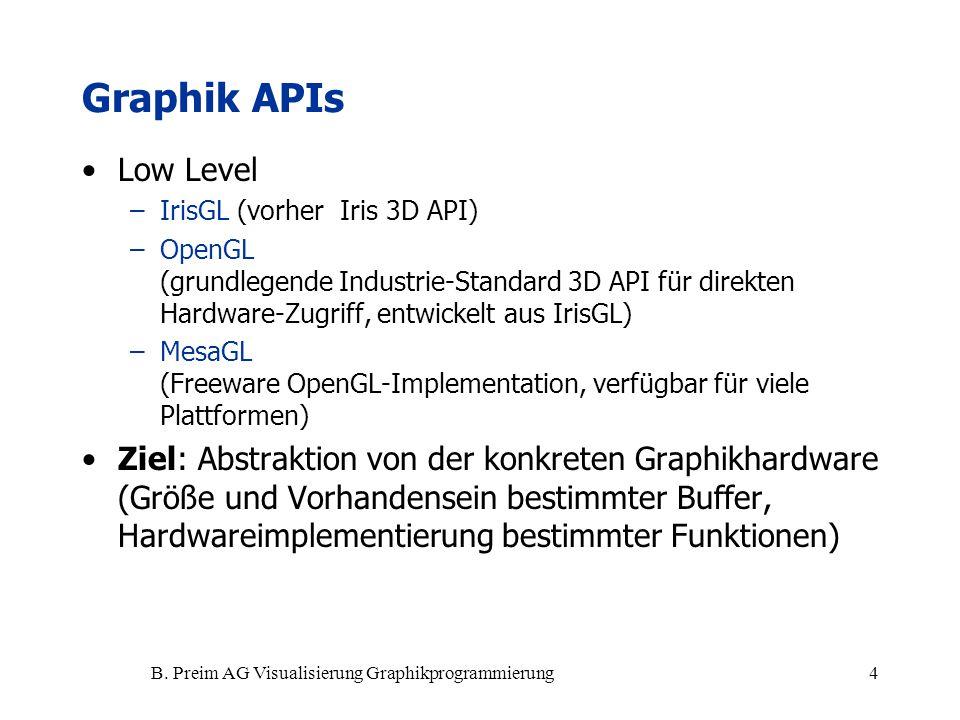 B. Preim AG Visualisierung Graphikprogrammierung4 Graphik APIs Low Level –IrisGL (vorher Iris 3D API) –OpenGL (grundlegende Industrie-Standard 3D API