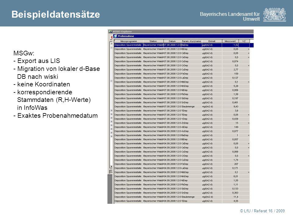 Bayerisches Landesamt für Umwelt © LfU / Referat 16 / 2009 Beispieldatensätze MSGw: - Export aus LIS - Migration von lokaler d-Base DB nach wiski - keine Koordinaten - korrespondierende Stammdaten (R,H-Werte) in InfoWas - Exaktes Probenahmedatum