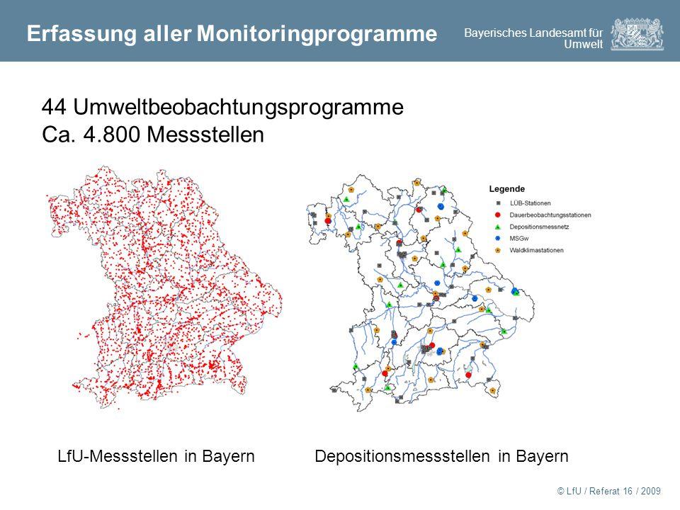 Bayerisches Landesamt für Umwelt © LfU / Referat 16 / 2009 Erfassung aller Monitoringprogramme 44 Umweltbeobachtungsprogramme Ca.