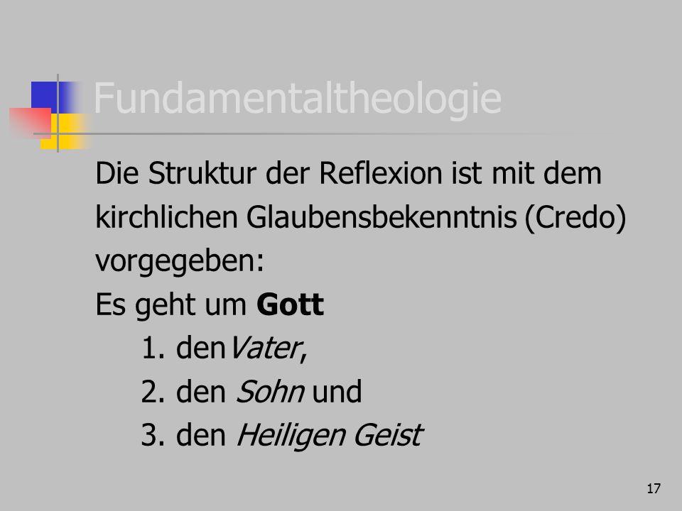 17 Fundamentaltheologie Die Struktur der Reflexion ist mit dem kirchlichen Glaubensbekenntnis (Credo) vorgegeben: Es geht um Gott 1. denVater, 2. den