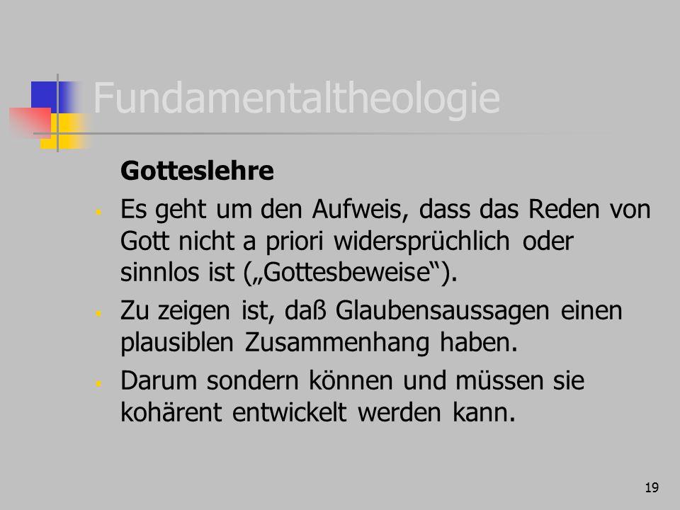 """19 Fundamentaltheologie Gotteslehre  Es geht um den Aufweis, dass das Reden von Gott nicht a priori widersprüchlich oder sinnlos ist (""""Gottesbeweise"""""""