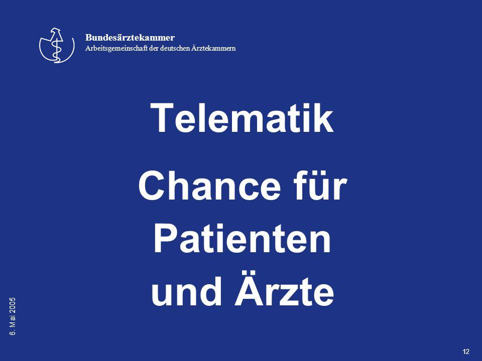 6. Mai 2005 Bundesärztekammer Arbeitsgemeinschaft der deutschen Ärztekammern 12 Telematik Chance für Patienten und Ärzte