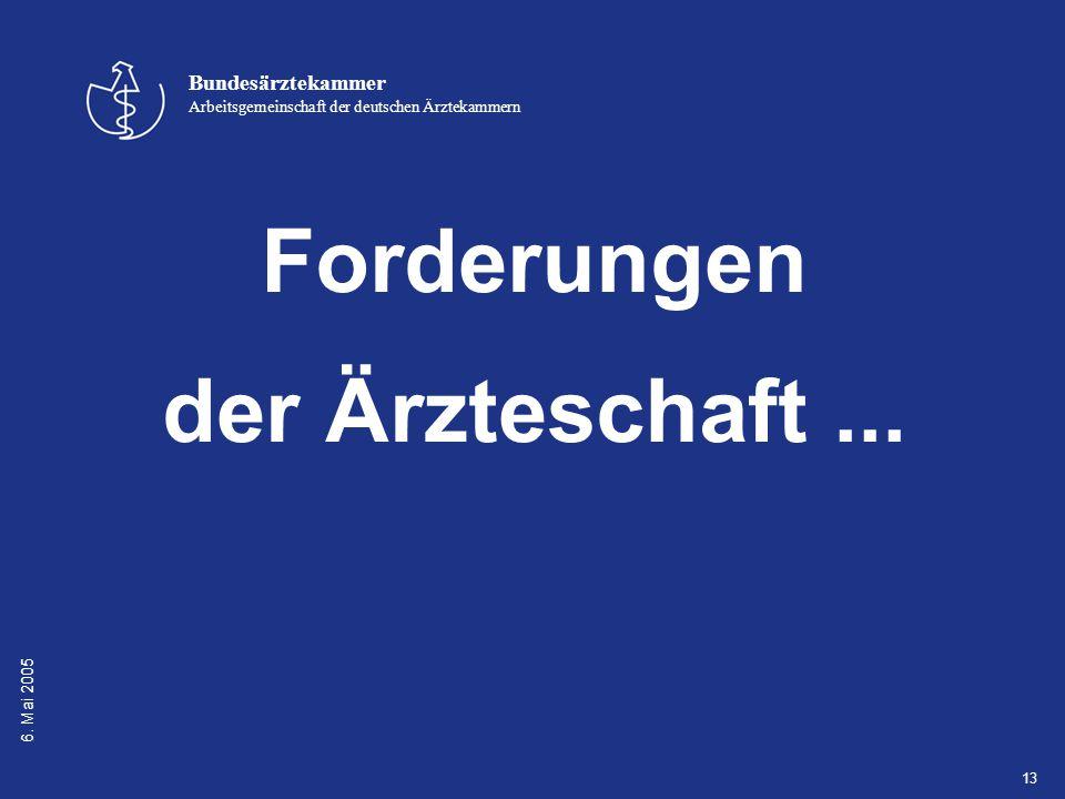 6. Mai 2005 Bundesärztekammer Arbeitsgemeinschaft der deutschen Ärztekammern 13 Forderungen der Ärzteschaft...