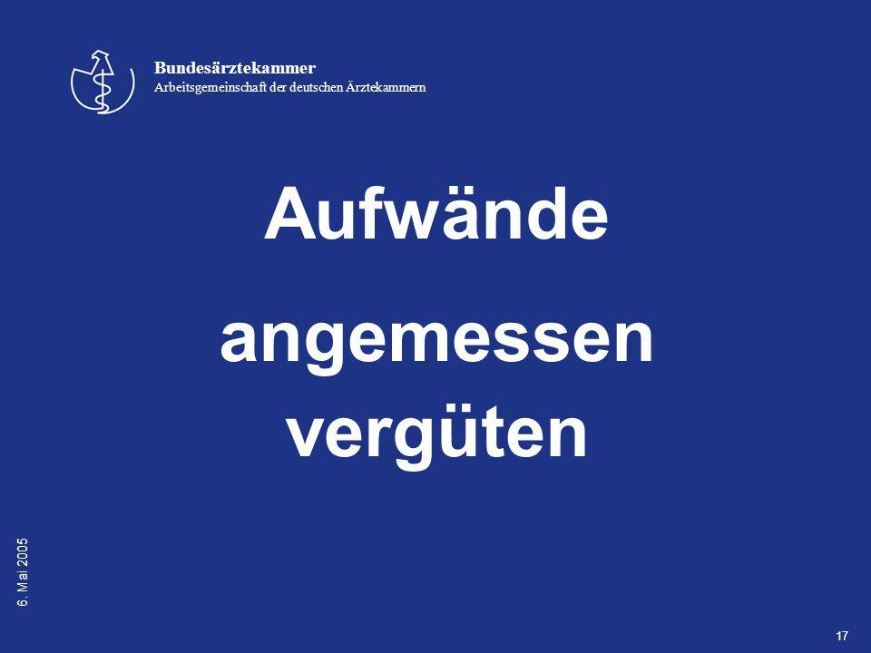 6. Mai 2005 Bundesärztekammer Arbeitsgemeinschaft der deutschen Ärztekammern 17 Aufwände angemessen vergüten