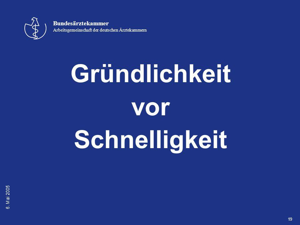 6. Mai 2005 Bundesärztekammer Arbeitsgemeinschaft der deutschen Ärztekammern 19 Gründlichkeit vor Schnelligkeit
