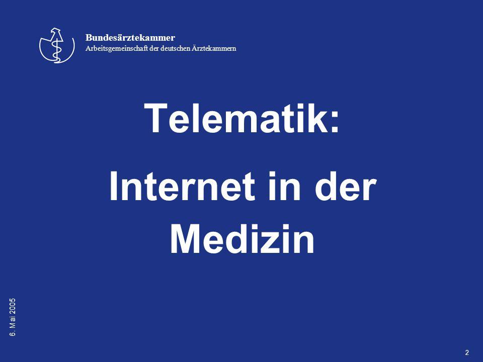 6. Mai 2005 Bundesärztekammer Arbeitsgemeinschaft der deutschen Ärztekammern 2 Telematik: Internet in der Medizin