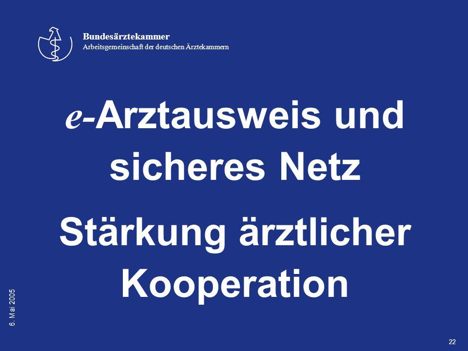 6. Mai 2005 Bundesärztekammer Arbeitsgemeinschaft der deutschen Ärztekammern 22 e- Arztausweis und sicheres Netz Stärkung ärztlicher Kooperation