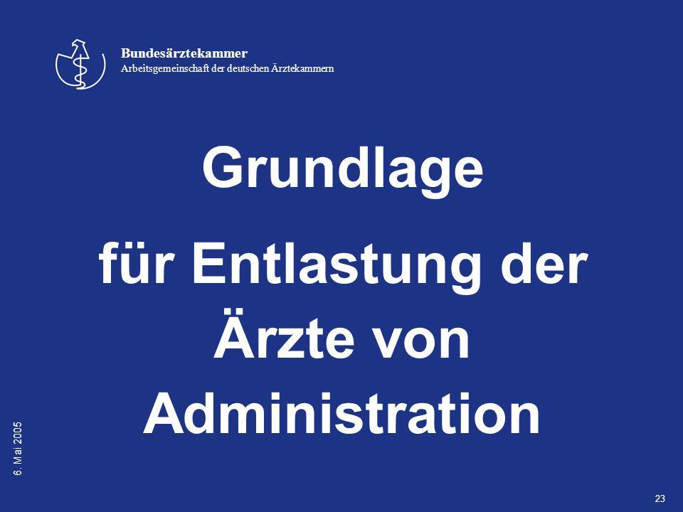 6. Mai 2005 Bundesärztekammer Arbeitsgemeinschaft der deutschen Ärztekammern 23 Grundlage für Entlastung der Ärzte von Administration