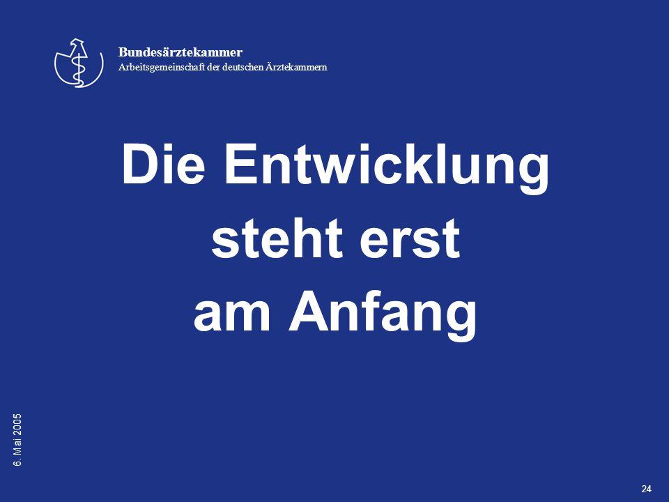 6. Mai 2005 Bundesärztekammer Arbeitsgemeinschaft der deutschen Ärztekammern 24 Die Entwicklung steht erst am Anfang