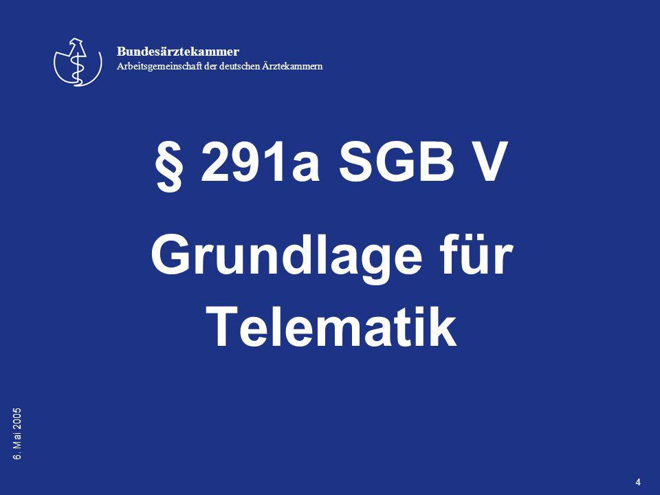 6. Mai 2005 Bundesärztekammer Arbeitsgemeinschaft der deutschen Ärztekammern 4 § 291a SGB V Grundlage für Telematik