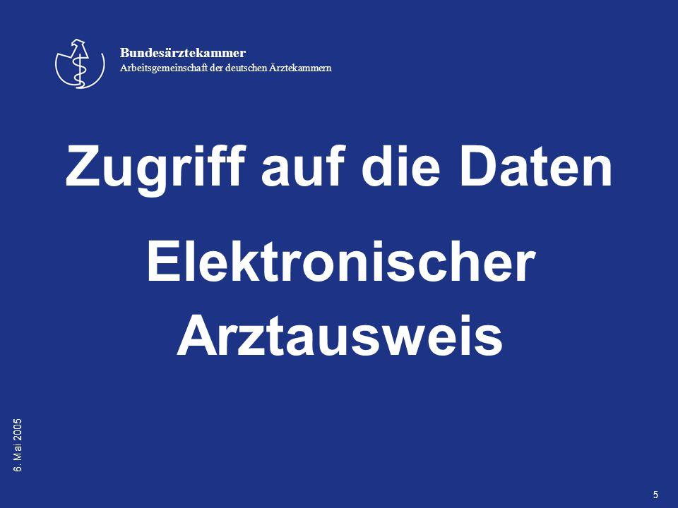 6. Mai 2005 Bundesärztekammer Arbeitsgemeinschaft der deutschen Ärztekammern 5 Zugriff auf die Daten Elektronischer Arztausweis
