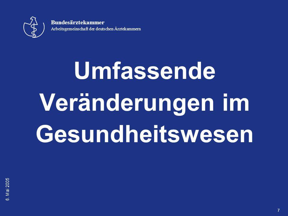 6. Mai 2005 Bundesärztekammer Arbeitsgemeinschaft der deutschen Ärztekammern 7 Umfassende Veränderungen im Gesundheitswesen