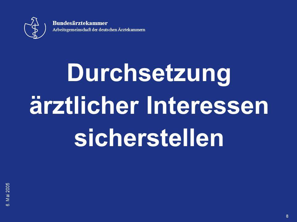 6. Mai 2005 Bundesärztekammer Arbeitsgemeinschaft der deutschen Ärztekammern 8 Durchsetzung ärztlicher Interessen sicherstellen