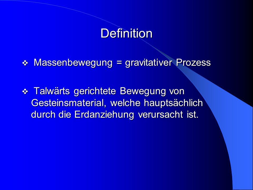 Definition  Massenbewegung = gravitativer Prozess  Talwärts gerichtete Bewegung von Gesteinsmaterial, welche hauptsächlich durch die Erdanziehung ve