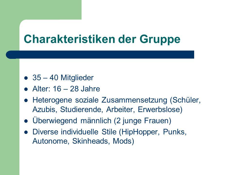 Charakteristiken der Gruppe 35 – 40 Mitglieder Alter: 16 – 28 Jahre Heterogene soziale Zusammensetzung (Schüler, Azubis, Studierende, Arbeiter, Erwerbslose) Überwiegend männlich (2 junge Frauen) Diverse individuelle Stile (HipHopper, Punks, Autonome, Skinheads, Mods)
