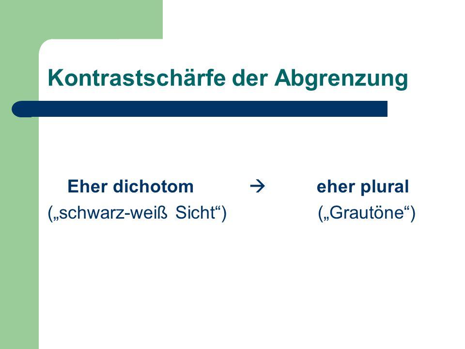 """Kontrastschärfe der Abgrenzung Eher dichotom  eher plural (""""schwarz-weiß Sicht ) (""""Grautöne )"""