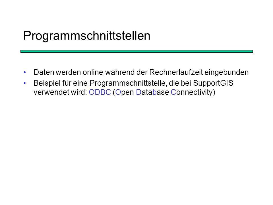 Programmschnittstellen Daten werden online während der Rechnerlaufzeit eingebunden Beispiel für eine Programmschnittstelle, die bei SupportGIS verwendet wird: ODBC (Open Database Connectivity)