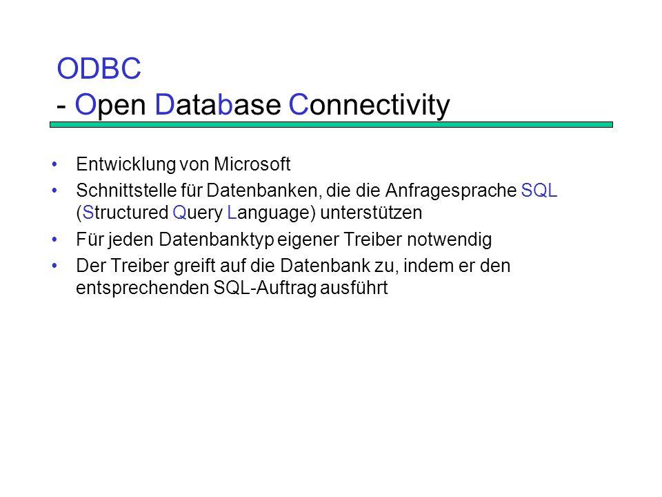 ODBC - Open Database Connectivity Entwicklung von Microsoft Schnittstelle für Datenbanken, die die Anfragesprache SQL (Structured Query Language) unterstützen Für jeden Datenbanktyp eigener Treiber notwendig Der Treiber greift auf die Datenbank zu, indem er den entsprechenden SQL-Auftrag ausführt