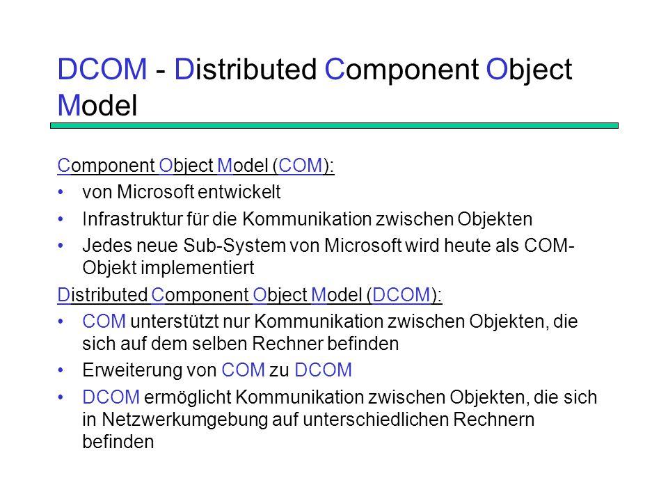 DCOM - Distributed Component Object Model Component Object Model (COM): von Microsoft entwickelt Infrastruktur für die Kommunikation zwischen Objekten Jedes neue Sub-System von Microsoft wird heute als COM- Objekt implementiert Distributed Component Object Model (DCOM): COM unterstützt nur Kommunikation zwischen Objekten, die sich auf dem selben Rechner befinden Erweiterung von COM zu DCOM DCOM ermöglicht Kommunikation zwischen Objekten, die sich in Netzwerkumgebung auf unterschiedlichen Rechnern befinden