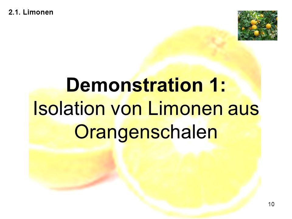 10 2.1. Limonen Demonstration 1: Isolation von Limonen aus Orangenschalen